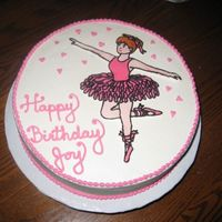 "Ballerina A pretty quick job -- fbct, BC, choc fudge with raspberry. 10"" x 3"". For a 4-year old. She loved it."