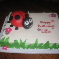 Ladybug For a 1 year old. 11x15 yellow with strawberry conserve. The ladybug is 1/2 of the ball pan, and the head is carved from a mini-doll pan...