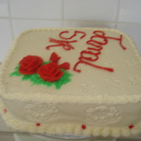 Simple Cake simple buttercream icing with marzipan roses