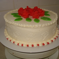 Birthday Cake butter cream with marzipan roses