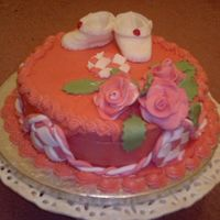 Baby Bootie And Rose Cake