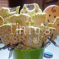 Baby Shower Cookies Almond Cookies frosted with fondant and royal icing