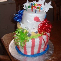 My First Topsy Turvy Birhday cake for a friend. My first topsy turvy.