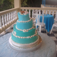 Birthday Seashells Frosted in buttercream with gumpaste shells