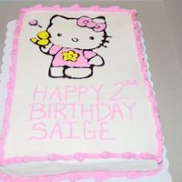 Hello Kitty Made for my neice. She loved it! It was a strawberry cake with b/c, gel transfer.
