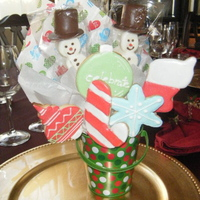 Christmas Cookie Bouquet NFSC wit Antonia's icing. I also made marshmallow snowman pops.
