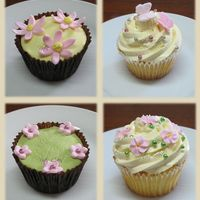 Cupcakes Take 3 More cupcakes from today. Top right is french buttercream with gumpaste butterflies, bottom right is french buttercream with bought royal...