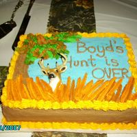 Hunting Themed Grooms Cake   Three layered chocolate with dutch chocolate filling and Chocolate Buttercream icing.