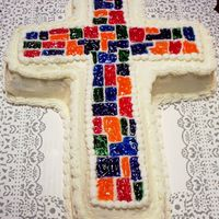 Cross Pic Stained glass chocolate cross with buttercream icing