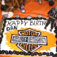 Harley Cake. I got the idea from this site and I loved it, I did this for my pastor.. used a FBCT and the writting looks like a leather jacket with the...