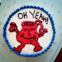 Kool-Aid Man   i made this for my husband and his work... i really enjoyed making this cake. I drew it free hand and it turned out really well...