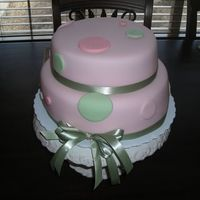 Dinky Dots   Two-layered fondant covered, stacked rounds with sage and pink dots accented with ribbon for baby shower. Matched the invitation.
