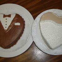 Tux And Wedding Dress Cake   representing the bride and groom...these cakes were made for the rehearsal dinner...