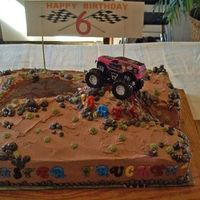 Monster Truckin' Made for a six year old. He designed his own cake. His grandmother helped. Loads of fun. 'Mud' is fudge topping. Strawberry and...