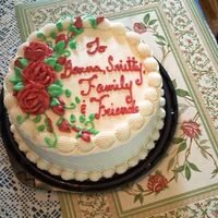 Thank You Cake Raspberry filling, white raspberry cake, and butter icing. The roses are buttercream too. It was for long time friends of my mother-in-law...
