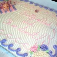 Baby Shower Full sheet chocolate cake. Sugar baby and sugar butterflies.