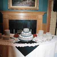 Black And White This was my 1st time working with fondant on such a large scale cake! I was in the wedding and had to put this cake together, let me tell...