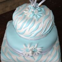 002.jpg   Aqua Blue zebra stripe fondant over white cake and buttercreme.