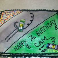 My Sons 7Th Birthday Cake Another year, another race car cake for little man. He wanted the race track cake with his favorite driver doing a burnout. All buttercream...