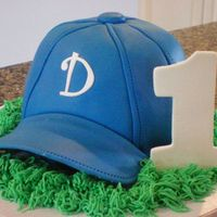 Baseball Cap Smash Cake Sculpted Baseball Cap covered in fondant