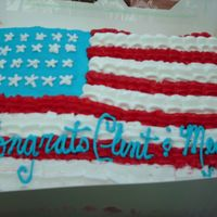 Flag Cake Done for friends celebration. Yellow cake BC icing