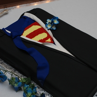 Superman Grooms Cake Suit my husbands grooms cake superman tuxedo and he wanted a character pan superman I said r u kidding me I OWN A CAKE SHOPI also suprised him...