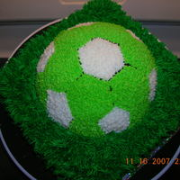 Soccerball soccarball done in the colors of lime green and white for the kickers soccer team