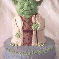 3D Master Yoda I created him using the stand-up Winnie the Pooh cake pan, all decoration is BC. His staff is a wooden skewer colored with food coloring,...