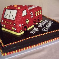 3D Fire Engine I beleive I copied someone here, but I didn't take notes! The inspiration cake also had hats placed around & a Dalmatian toy on...