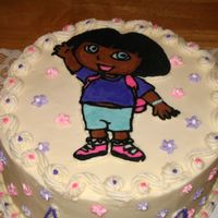 Dora   FBCT of Dora. All buttercream. White cake with strawberry filling. Royal icing flowers.