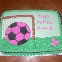 Pink Soccer Ball Cake Made this for a girls Birthday. I didn't have the ball pan, so I decided to just draw it on. All done in buttercream. I Did this a...