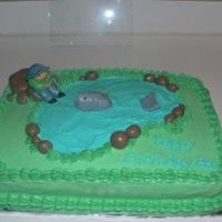 Fishing Cake This is my very first time using fondant! I love it!! Thanks to luvtodecorate for the inspiration on the little man & the fish!