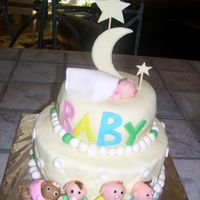 Fondant Baby Shower   2 tiered baby shower cake; fondant-covered; from Wilton fondant book