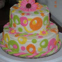 Neon Birthday This was for my neices' birthday party. They turned 2 and 1. Their mom wanted something with bright colors. The bottom cake is 9&quot...