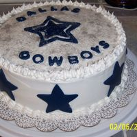 Dallas Cowboys Cake Chocolate cake with fudge filling and white buttercream frosting. Edible silver glitter and blue fondant stars.