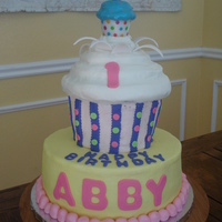 Abby's 1St Birthday Wilton Cupcake pan and 10 inch round
