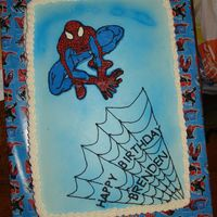 Spiderman Here's my nephew's 4th birthday cake. I'm not really happy with the outcome but he loved it so that's what really...