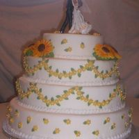 Sunflower Cake This is the second wedding cake I've done. the bride had to have sunflowers, and not silk ones. If any one has any pointers I'd...