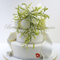 Mistletoe Cake Dummy cake for a christmas presentation. All decorations are made from gumpaste.Thanks for looking