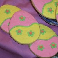 Patchwork Easter Eggs Rich Rolled Sugar Cookies with rolled and embossed fondant, fondant inlays and royal icing piping.