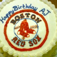 Aj's Boston Red Sox Birthday Cake I made this cake for a co-worker who loves the Boston Red Sox. Chocolate cake with chocolate filling, buttercream dream icing. Mostly...