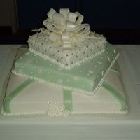 Present Wedding Cake This cake I did for some friends of ours. Thier colors were green and white for thier wedding, and they were really indecisive. So I...