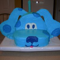 Blue's Clue This is a Blues Clue Cake I made for my daughters 2nd Birthday. Ears and tail are white chocolate, and everything is covered in butter...