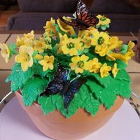 Flower Pot Cake  # layer chocolate cake with milk choc BC and MMF. Flowers are MMF, butterflies are wafer paper. Everything is edible except the butterfly...
