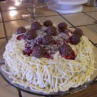 Spaghetti Cake  Since my family is Italian this seemed fitting for my Mother's birthday cake. It is chocolate cake, strawberry layers inside,...