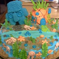 My Nephew's Spongebob Cake Spongebob's house is a dome shaped cake and Squidward's house is made from tinted white chocolate in a foil mold I shaped. I had...