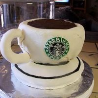 Starbucks Cake  My brother loves coffee and Starbucks so I made him this cake for his birthday. Be easy on me, this was my VERY first attempt at fondant so...