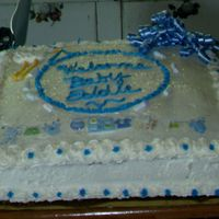Baby Shower For Newest Grandson Due In August   Vanilla cake with strawberry filling and buttercream icing.