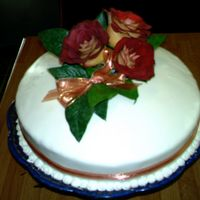 Cake For Son' S Wedding Rehersal Dinner   MMF Fondant covered, roses are real, lemon cake with key lime filling. Thanks for looking
