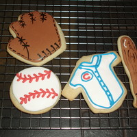 Baseball Cookies Made for my son t-ball team end of party. NFSC with Royal icing.